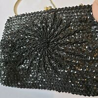 Hoag beaded evening bag black satin seed beads 1970s vintage clutch to handbag