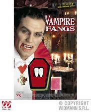 KIT DENTI CANINI VAMPIRO con colla - Vampire fangs Widmann 4097D