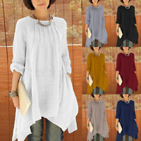 UK Women Long Sleeve O Neck Kaftan Casual Baggy Asymmetric Hem Tops Shirt Blouse
