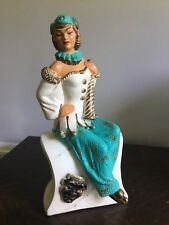 Vintage 1950's Mid Century Aqua Asian Pin Up Girl Lady Chalkware Figurine Statue