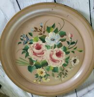 """Vintage Large Tole Metal Serving Tray Round 18.5"""" Heavy Floral Unbranded"""
