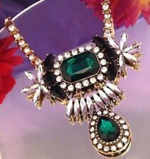 SUSAN GRAVER Drop Statement Necklace Emerald Green Gold Tone On Trend  J326991