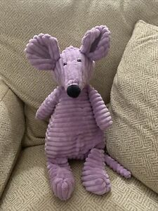 "HTF Jellycat London Purple Corduroy Mouse 15"" Rat Collectible Plush EUC"