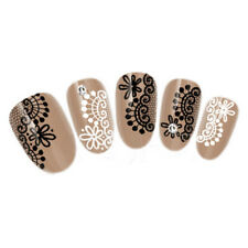 Black Lace Nail Art Stickers Flowers Charm Nail Transfer Decals Manicure Decor