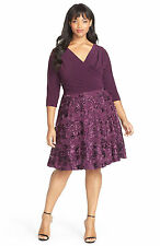 NWT $169 MARINA EGGPLANT PURPLE ROSE FIT & FLARE DRESS SZ 24W WOMENS PLUS SIZE