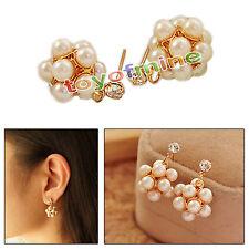 Pearl Disco Balls Crystal Rhinestone Ear Studs Earrings