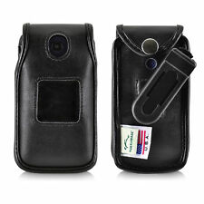 Consumer Cell Alcatel GO FLIP, ATT FLIP2 Black LEATHER Case Removable Belt Clip