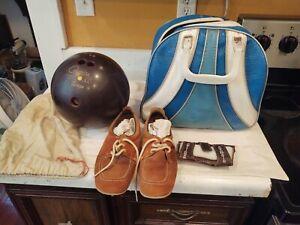 Vintage Brunswick Bowling Bag Women's Shoes SIZE UNKNOWN Ball 12 lbs Brace