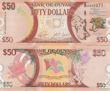 Guyana P41, $50, map, leopard / water lily, doves UNC  see UV & WM  2016