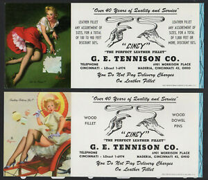 """2 Girly Cincy Pin-ups by Elvgren, Ink Blotter Leather """"Got the Picture?"""" Risque^"""