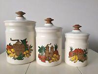 Vintage Metal Kitchen Canister Set Retro Kitschy Vegetables Mushrooms Fruit