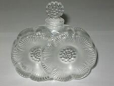 """Vintage Lalique Glass Deux Fleurs Perfume Bottle w/Floral Stopper - 3 3/4"""" Ht"""