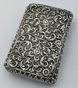 INDIAN KUTCH ANTIQUE SILVER ENGRAVED CIGARETTE CASE 19TH CENTURY Islamic Art​