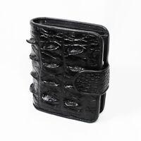 Black Genuine Leather Crocodile Back Skin Women Bi-fold Coin Purse Clutch Wallet