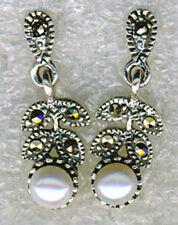 Pearl Butterfly Drop/Dangle Round Fine Gemstone Earrings