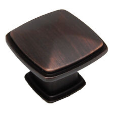 "LOT 10 CDK Oil Rubbed Bronze 1-1/4"" Square Cabinet Drawer Knob Hardware 0651-OBH"