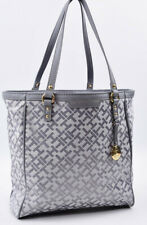 TOMMY HILFIGER Small Monogram Fabric Tote / Shopper Bag, Light Grey