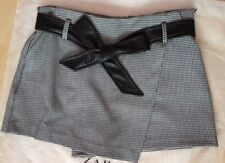 ZARA BLACK/WHITE  CHECK SKORT /SKIRT WITH BELT BNWT SIZE L