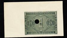 Poland German Occupation BANKNOTE, WWII Bank Krakow 1 Zloty 1941 PIC#899