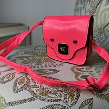 Neon Pink Small Bag Handbag Crossbody Turnlock Closure Camera Bag