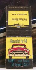 Rare Vintage Matchbook Cover K2 Minnesota Northfield 1950 Chevrolet Car De Mann