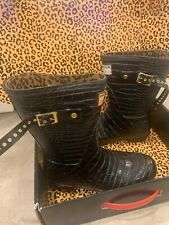 Jimmy Choo Hunter Crocodile Wellies  Black rain boots  ~ Miss Match Size 4 & 6