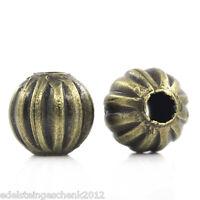 200 Bronzefarben Rund Kürbis Spacer Perlen Beads 6mmD.