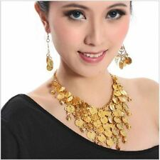 NEW BELLY DANCE JEWELRY NECKLACE & EARNNING TRIBAL COINS BEADS DANCEWEAR