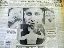 1927 newspaper w 4 photos of New York Yankee star LOU GEHRIG flexing his muscles