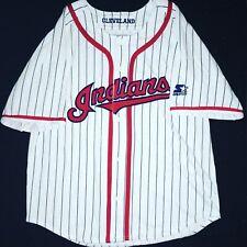 2c1efd426 Vintage 1990 s Cleveland Indians White Pinstripe Starter Jersey Medium Wahoo