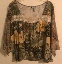 Caribbean Joe Womens Size 3X Lace Neckline Sheer 3/4 Sleeves Floral Lace