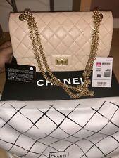 Medium Beige Chanel Reissue 2.55 Double Flap Shoulder Bag Yellow Gold Tone