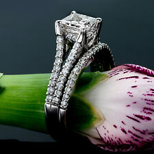 2.01 CT PRINCESS CUT DIAMOND ENGAGEMENT RING 14K WHITE GOLD ENHANCED