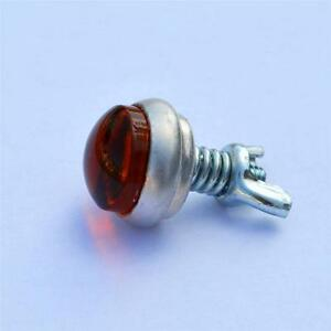 NEW! Amber Glo Brite Smooth Glass Reflector Stud - Motorcycle Rat Hot Rod Bike