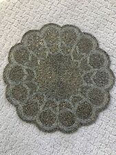 "Tahari 15""Silver Gunmetal Beaded Placemats Chargers SET OF 6"