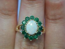 10K Yellow Gold Opal & Emerald Halo Cocktail Ring