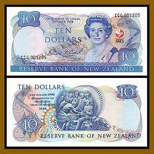 New Zealand 10 Dollars, 1990 P-176 (4 Digit Serial) Comm Queen Elizabeth II Unc
