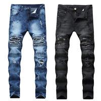 HOT Men Ripped Jeans Super Skinny Slim Fit Denim Pants Destroyed Frayed Trousers