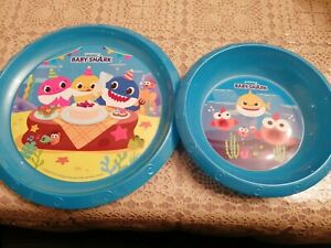 Kids Baby Shark 3 Piece Plate and Bowl & cup Mealtime Set  3 Yrs +New