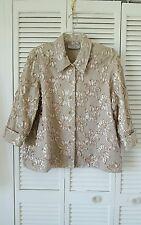 Simonton Says Designs XL taupe gold ribbon design cotton button down jacket top