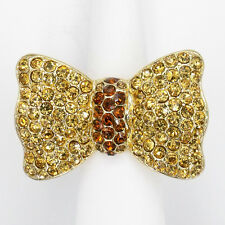 Bow Finger Cocktail Rings Rhinestone Brown Costume Jewelry Party Gold T Size Adj