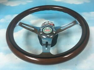"ROVER AUSTIN MINI COOPER 13"" WOOD CLASSIC STEERING WHEEL WITH BOSS KIT (ADAPTOR)"