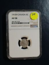 1903H Canada Five Cents NGC AU50 small H BETTER DATE SILVER 5C Coin BUY IT NOW!