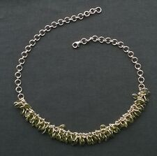 SOLID 925 STERLING SILVER OVAL CLUSTERS PERIDOT CHARMS NECKLACE 17""