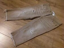 DOLCE & GABANNA Cropped Jeans Faded Sand Colour Low Rise Frayed Hem Holes UK10