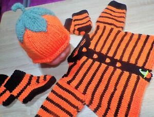 NB handknit jacket bonnet boots set 4 baby / reborn / pumpkin halloween,orange