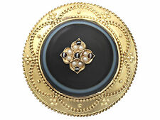 Agate and Pearl, 18 ct Yellow Gold Brooch/Locket - Antique Victorian