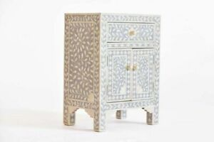 INDIAN HANDMADE STUNNING BONE INLAY BEDSIDE TABLE