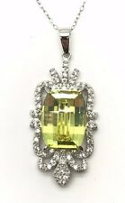 """Sterling Silver 925 Cushion Green Peridot CZ Cluster Leaf Necklace 18"""""""