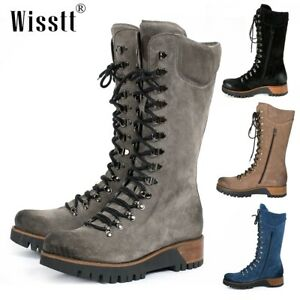 Womens Leather Knee High Side Zipper Riding Walking Chunky Lace Up Combat Boots